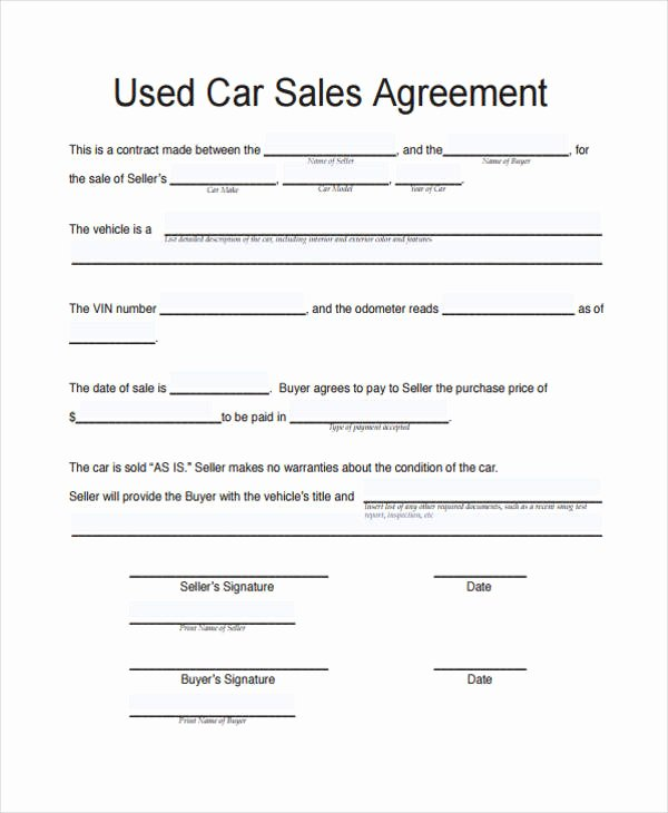 Car for Sale Template Beautiful Vehicle Sale Agreement Template