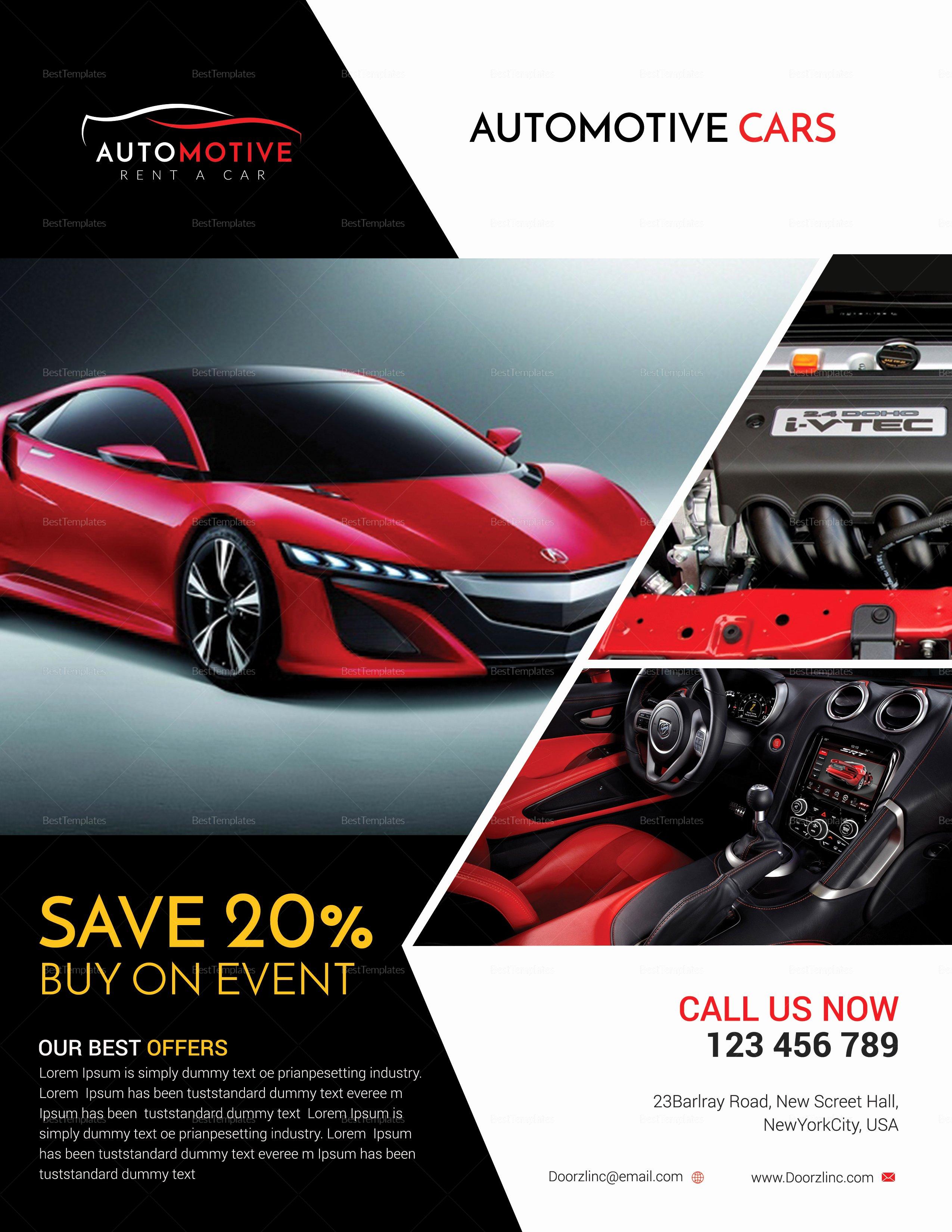 Car for Sale Template Fresh Automotive Car Sales Flyer Design Template In Psd