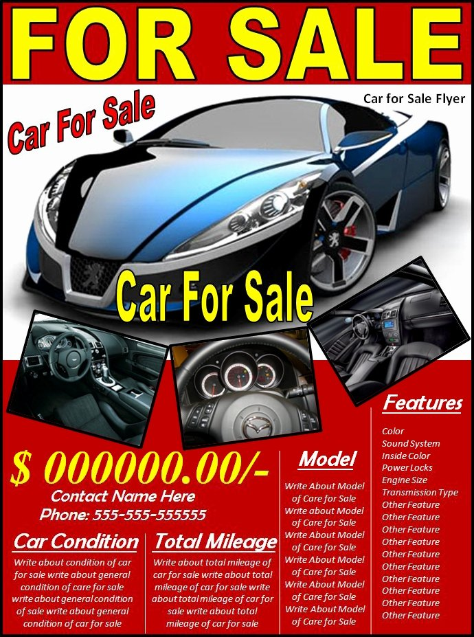 Car for Sale Template Lovely Car for Sale Flyer Template Excel Pdf formats