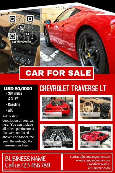 Car for Sale Template Luxury Car for Sale Pre Made Print Template Professional