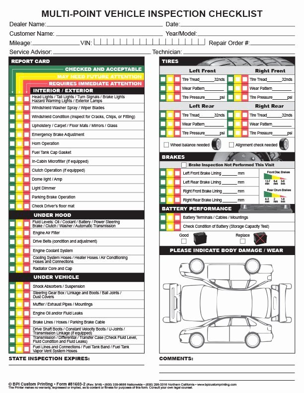 Car Inspection Checklist Template Luxury Multi Point Inspection Checklist Bpi Dealer Supplies