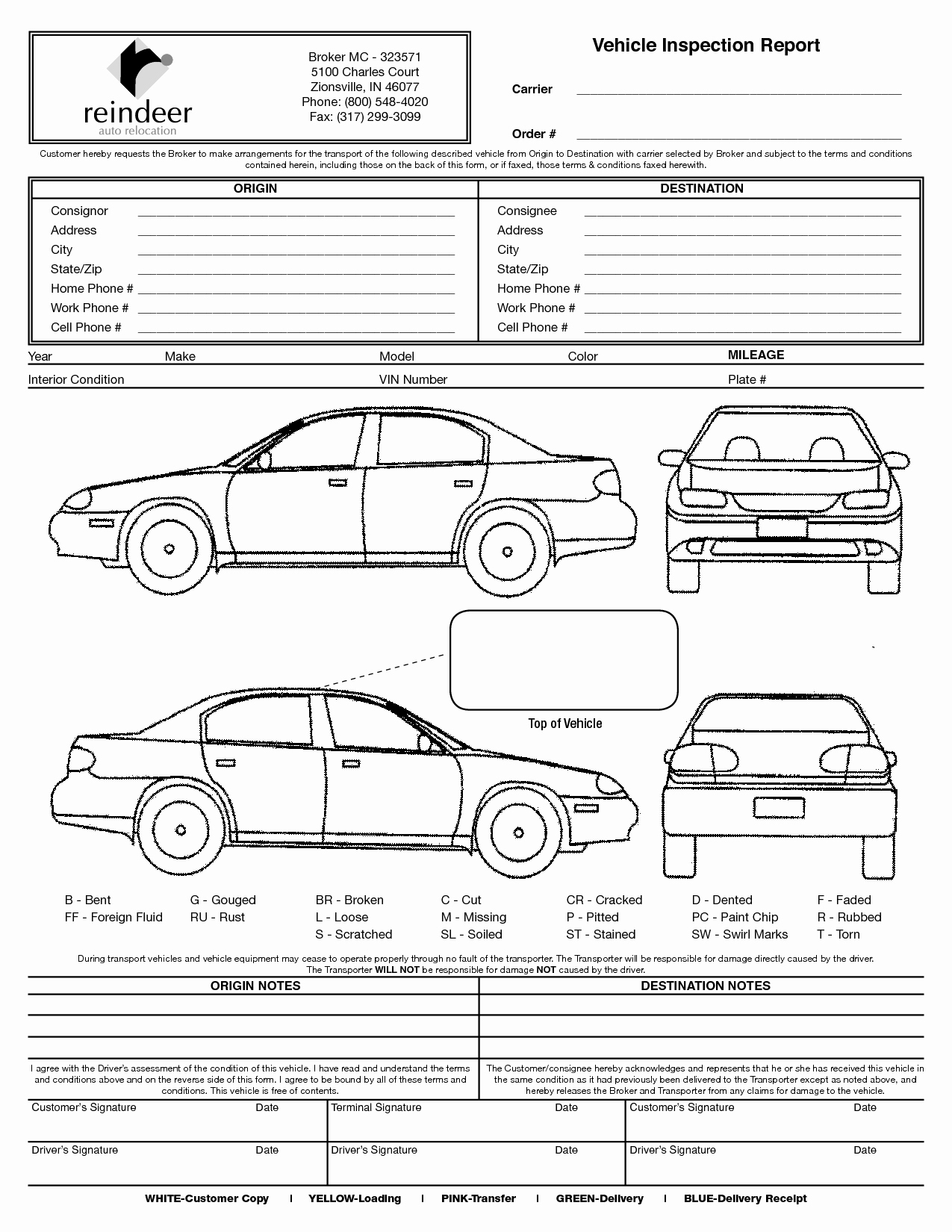 Car Inspection Checklist Template Unique Vehicle Check In Sheet to Pin On Pinterest