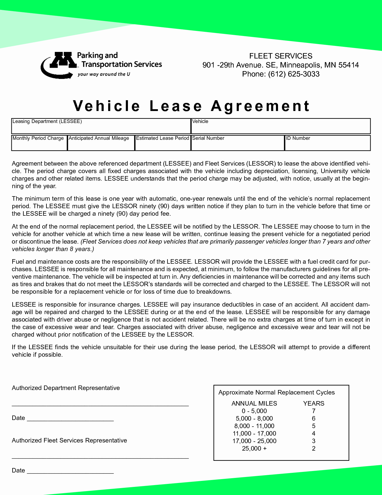 Car Lease Agreement Template Awesome Vehicle Lease Agreement