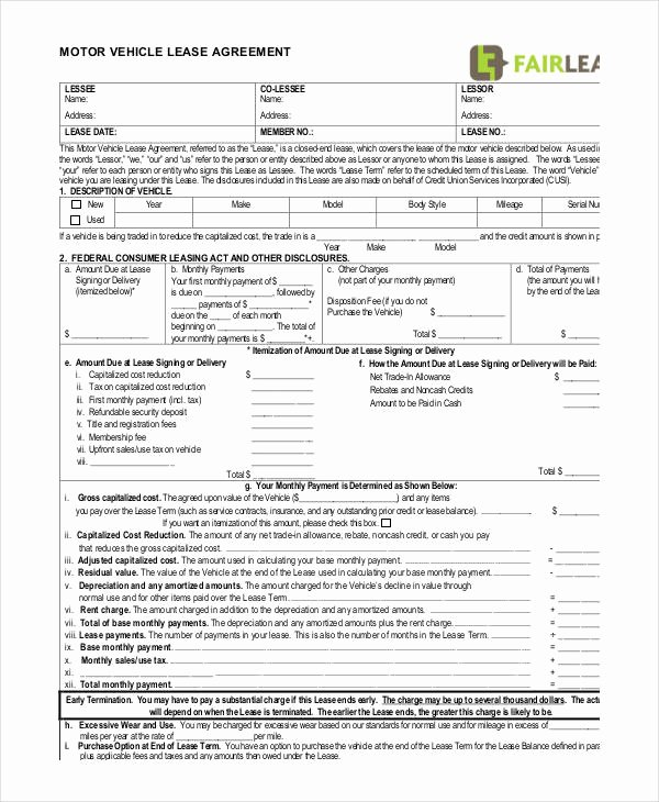 Car Lease Agreement Template Best Of 12 Vehicle Lease Agreement Templates Docs Word