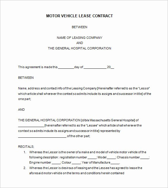 Car Lease Agreement Template Elegant 9 Lease Contract Templates – Free Word Pdf Documents
