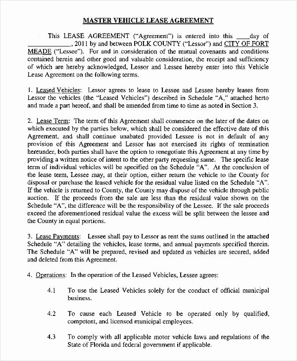 Car Lease Agreement Template Fresh 12 Vehicle Lease Agreement Templates Docs Word