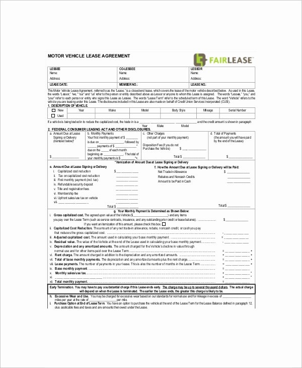 Car Lease Agreement Template Inspirational 10 Sample Vehicle Lease Templates Pages Docs