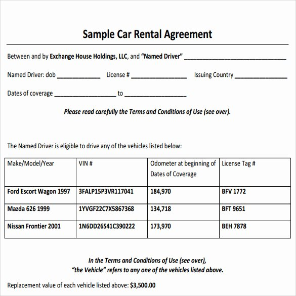 Car Lease Agreement Template Inspirational 11 Sample Car Rental Agreements