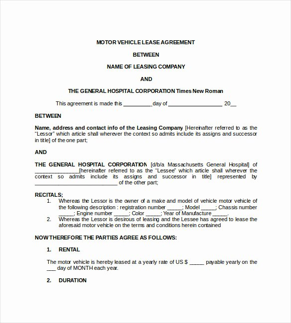 Car Lease Agreement Template Luxury 17 Lease Template Doc Pdf