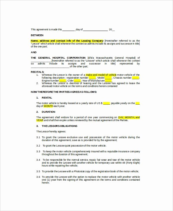 Car Lease Agreement Template New 10 Sample Vehicle Lease Templates Pages Docs