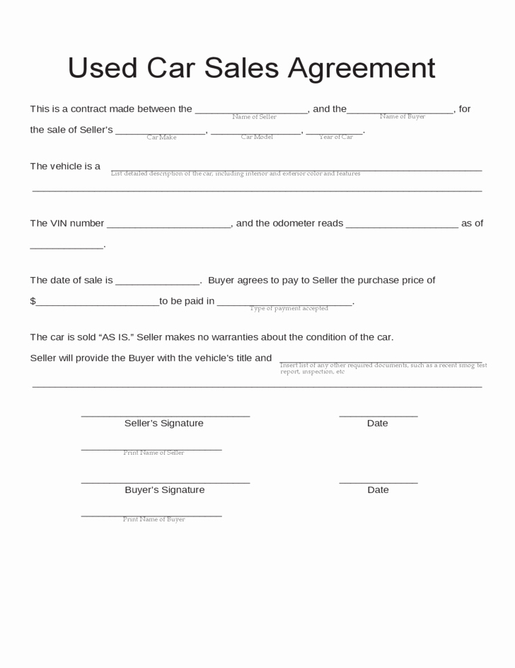 Car Payment Contract Template Beautiful Blank Used Car Sales Agreement Free Download