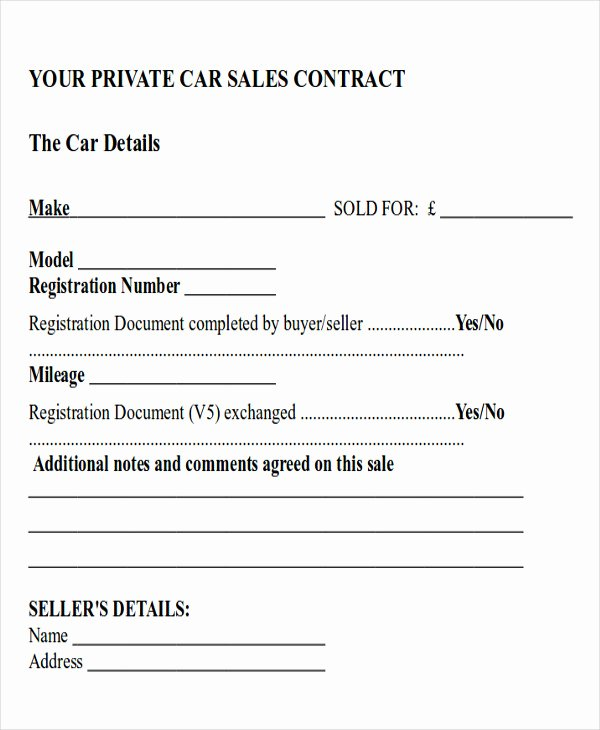 Car Payment Contract Template Elegant Sample Car Sales Contract 12 Examples In Word Pdf