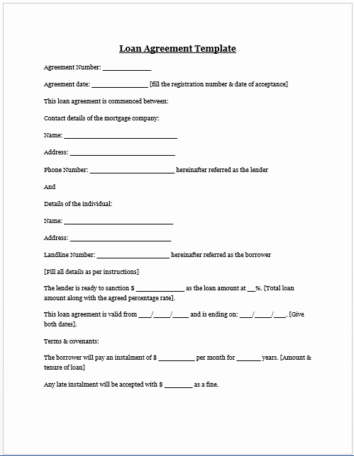 Car Payment Contract Template Luxury Free Printable Personal Loan Agreement form Generic