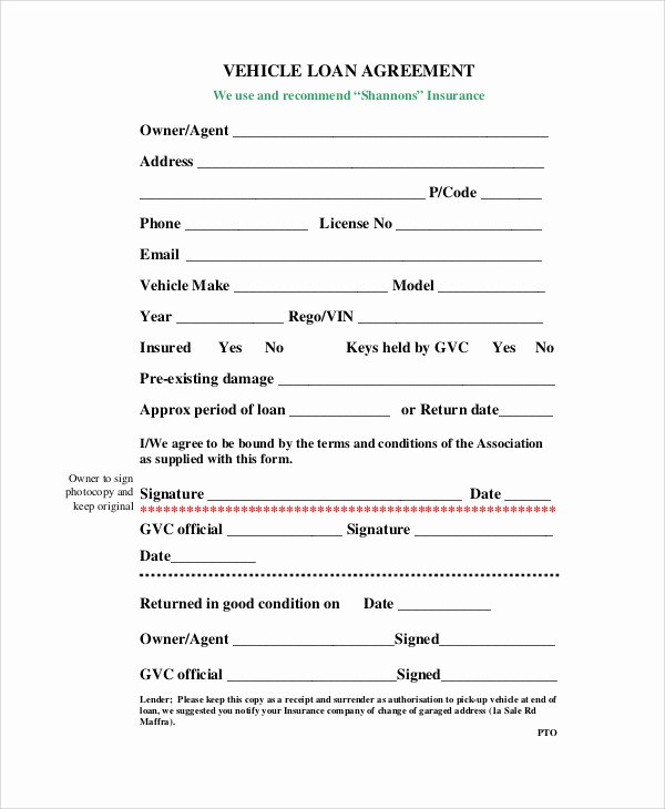 Car Payment Contract Template New Car Loan Contract Template – Emmamcintyrephotography