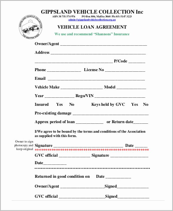 Car Payment Contract Template Unique Free Loan Agreement form