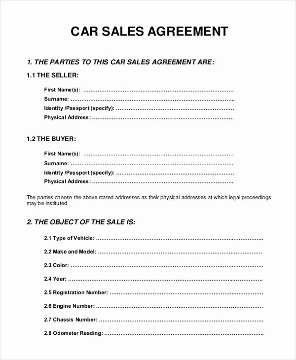 Car Purchase Agreement Template Awesome 10 Sample Sales Agreement forms Free Sample Example