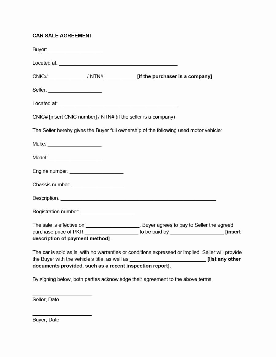 Car Purchase Agreement Template Beautiful 42 Printable Vehicle Purchase Agreement Templates