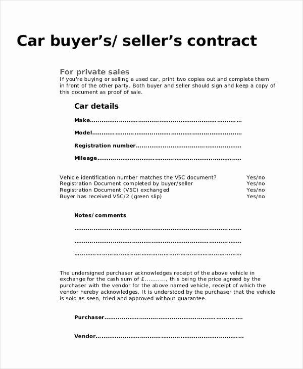 Car Purchase Agreement Template Elegant 9 Sample Purchase Agreement forms Sample Example format