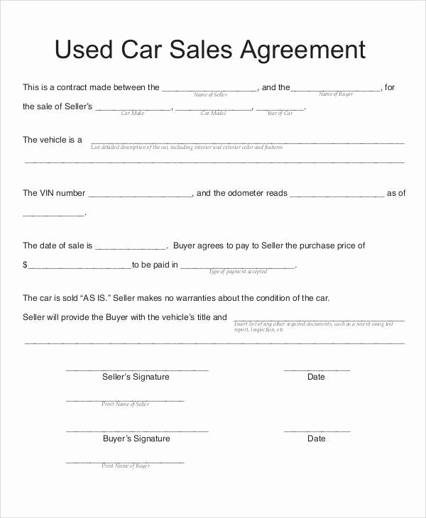 Car Purchase Agreement Template Inspirational Auto Sales Contract Agreement Templates Resume