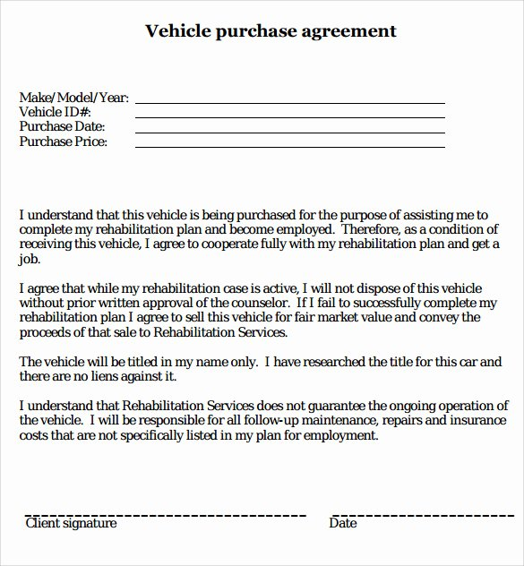 Car Purchase Agreement Template Lovely 16 Sample Vehicle Purchase Agreements