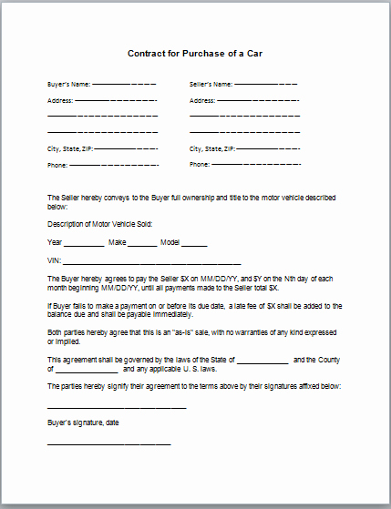 Car Purchase Agreement Template Lovely Car Purchase Contract Template