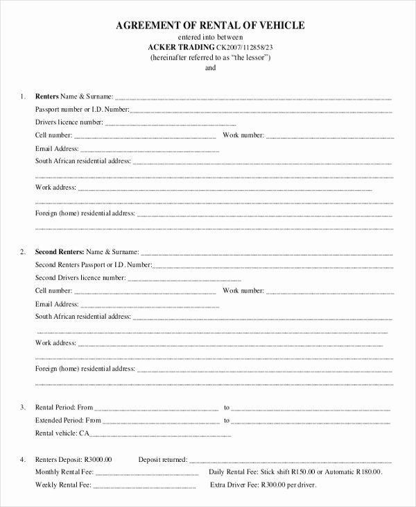 Car Rental Agreement Template Awesome 17 Car Rental Agreement Templates Free Word Pdf format