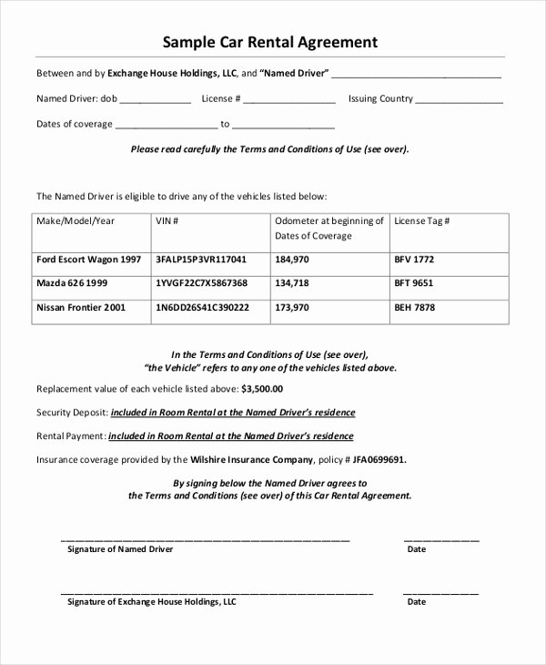 Car Rental Agreement Template Inspirational 35 Free Agreement forms