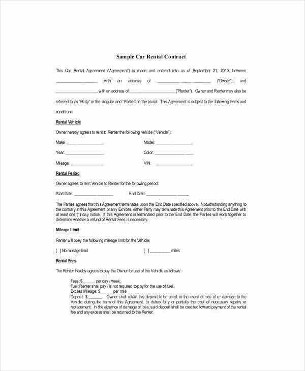 Car Rental Agreement Template Lovely Blank Lease Template 6 Free Word Pdf Documents