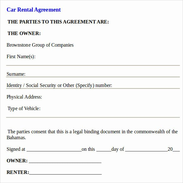 Car Rental Agreement Template Luxury Car Rental Agreement Templates 12 Free Documents In Pdf