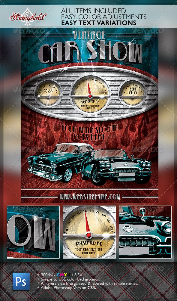 Car Show Flyer Template New Vintage Car Show Dashboard Flyer Template by Stronghold