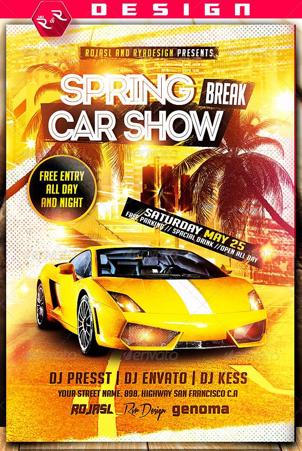 Car Show Flyer Template Unique Spring Break Car Show Flyer On Behance