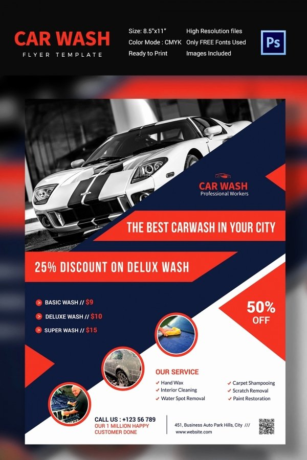 Car Wash Flyers Template Beautiful Car Wash Flyer 48 Free Psd Eps Indesign format
