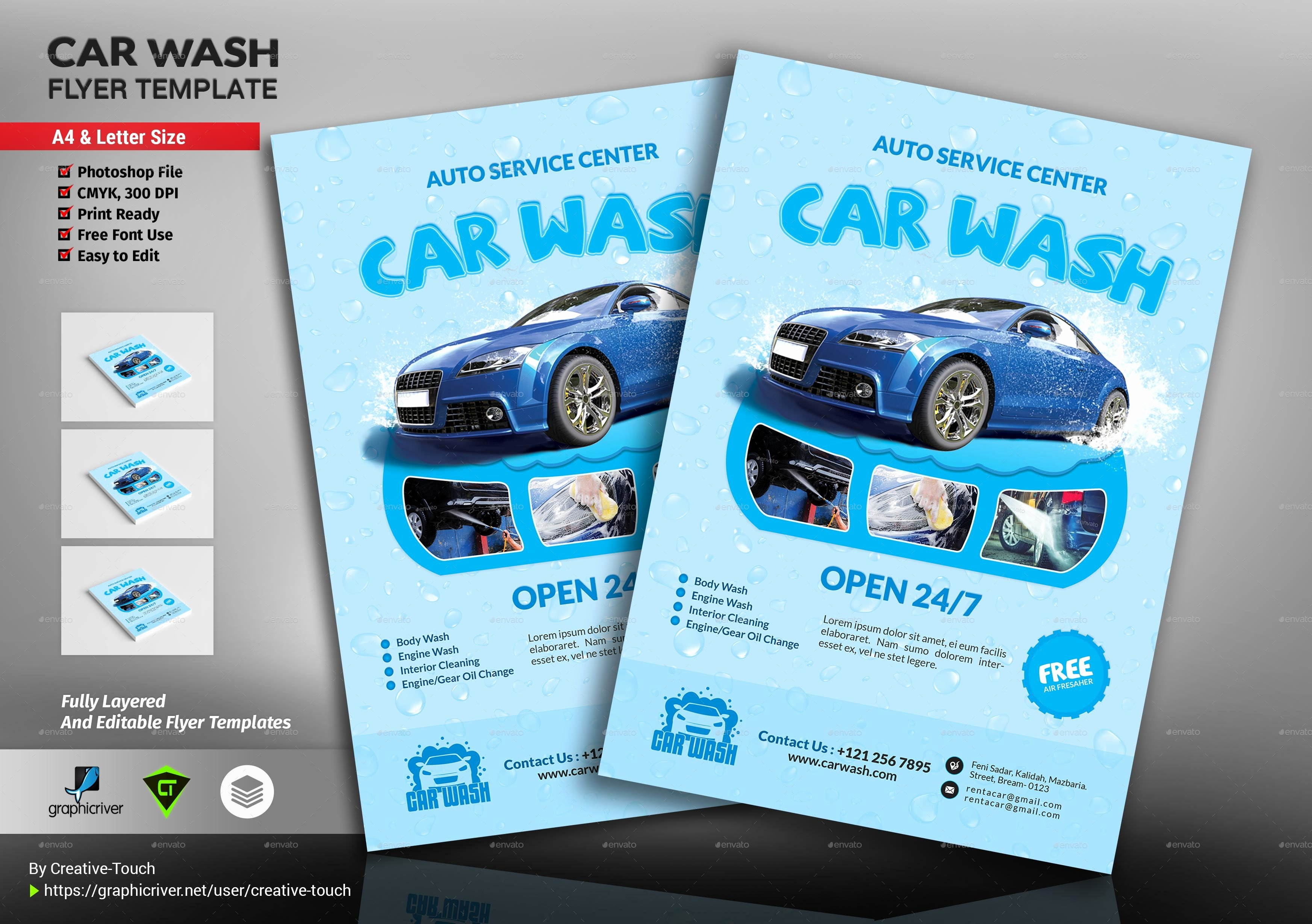 Car Wash Flyers Template Beautiful Car Wash Flyer Template by Creative touch