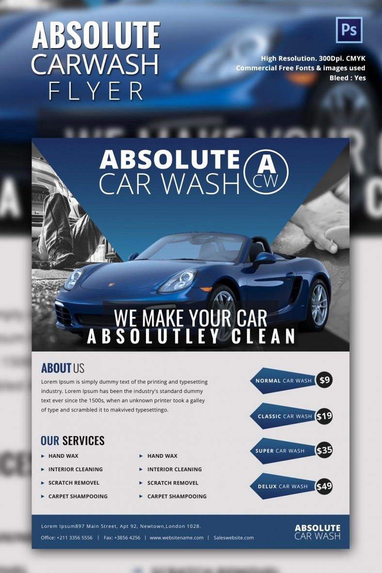 Car Wash Flyers Template Elegant Car Wash Flyer 48 Free Psd Eps Indesign format