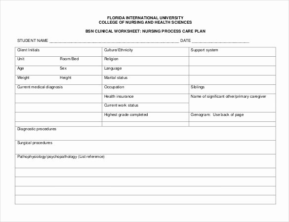 Care Plan Template Pdf Elegant Nursing Care Plan Templates 20 Free Word Excel Pdf