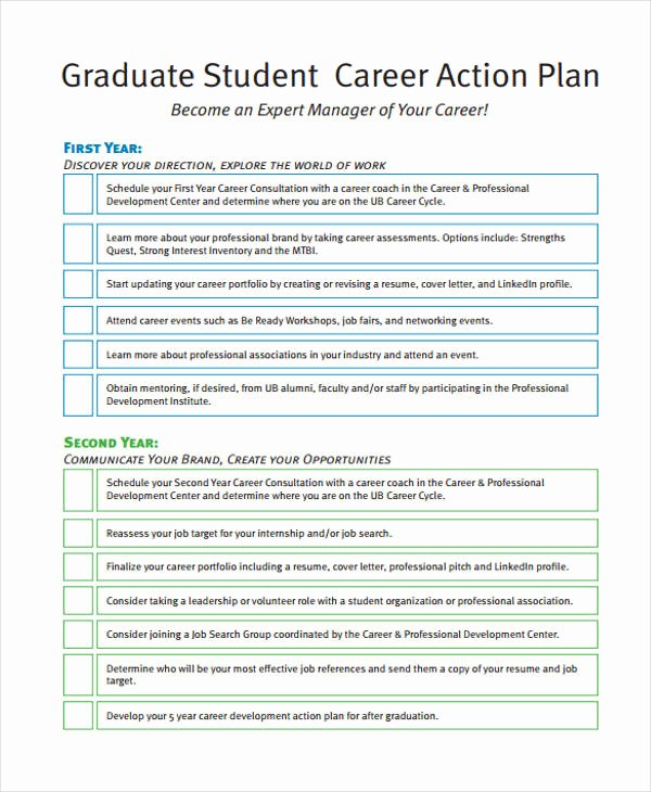 Career Action Plan Template Awesome 8 Student Action Plan Templates Free Sample Example