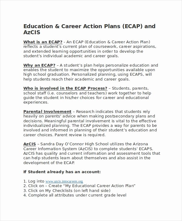 Career Action Plan Template Awesome Career Action Plan Template 15 Free Sample Example