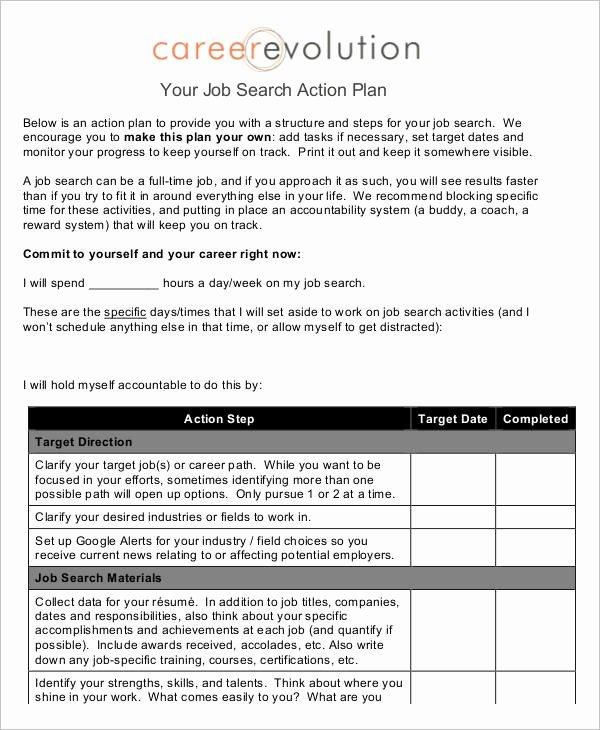 Career Action Plan Template Beautiful Job Plan Templates 10 Free Samples Examples format