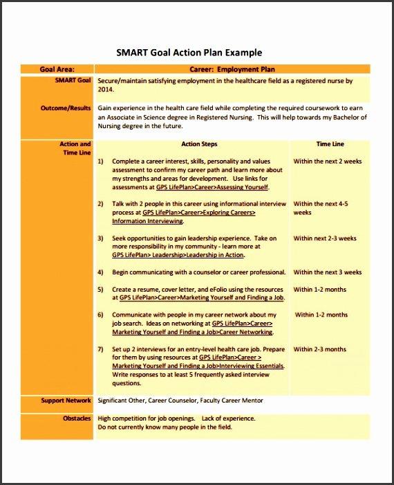 Career Action Plan Template Inspirational 6 Professional Action Plan Template Sampletemplatess
