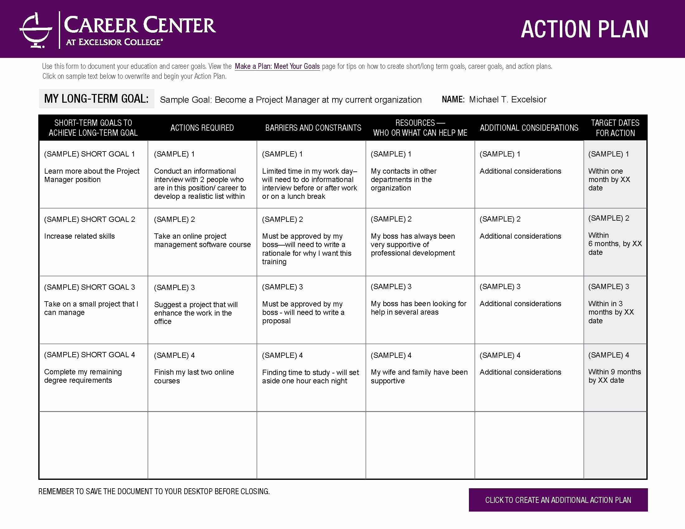 Career Action Plan Template Inspirational Excelsior College Make A Plan – Meet Your Goals