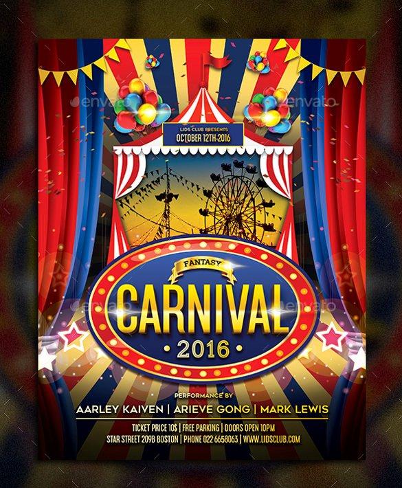 Carnival Flyer Template Free Beautiful Carnival Flyer Template 52 Free Word Psd Ai Vector
