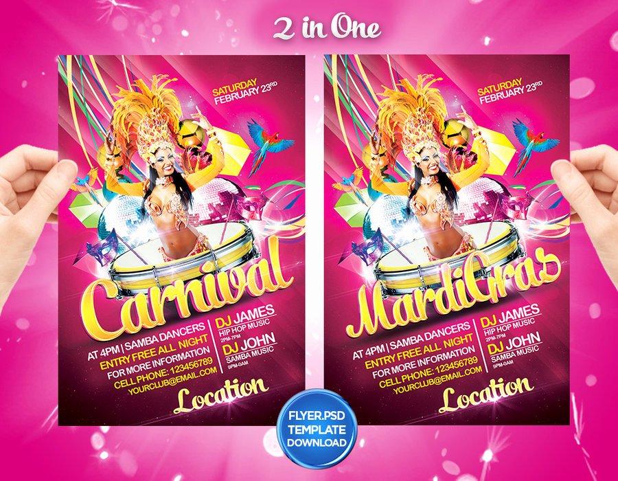 Carnival Flyer Template Free Best Of Mardi Gras Carnival Flyer Template by Grandelelo by