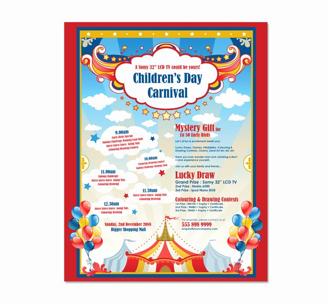 Carnival Flyer Template Free Fresh Kids Carnival Day Poster Template