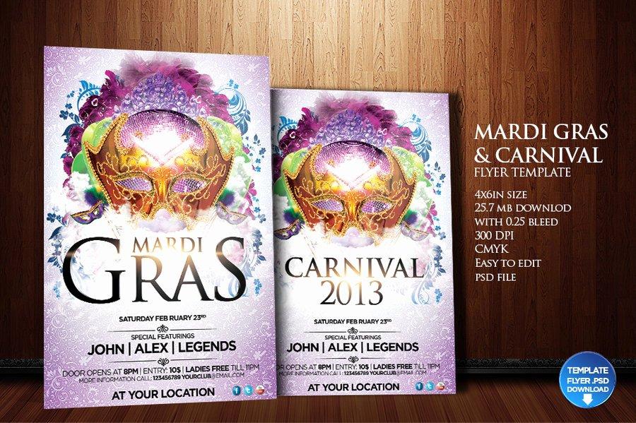 Carnival Flyer Template Free Fresh Mardi Gras Carnival Flyer Template by Grandelelo On