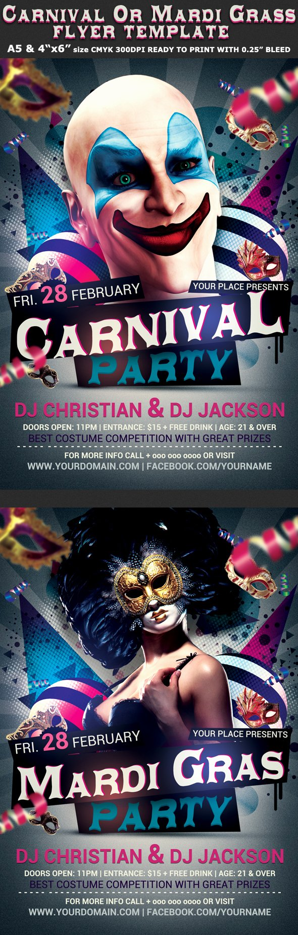 Carnival Flyer Template Free Inspirational Carnival N Mardi Gras Party Flyer Template