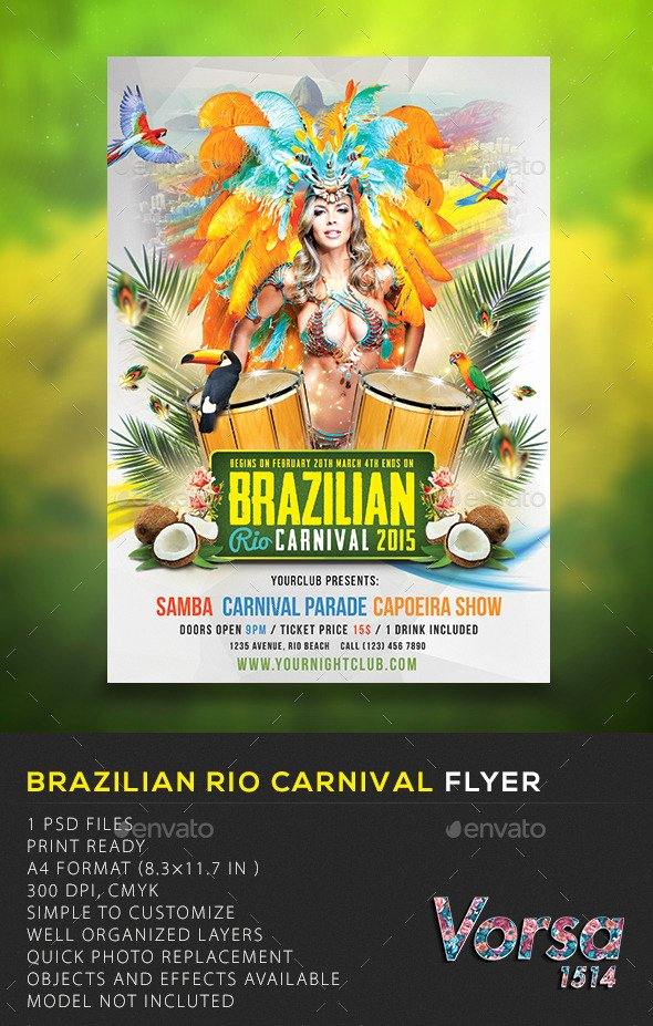 Carnival Flyer Template Free Unique Brazilian Rio Carnival Flyer by Vorsa