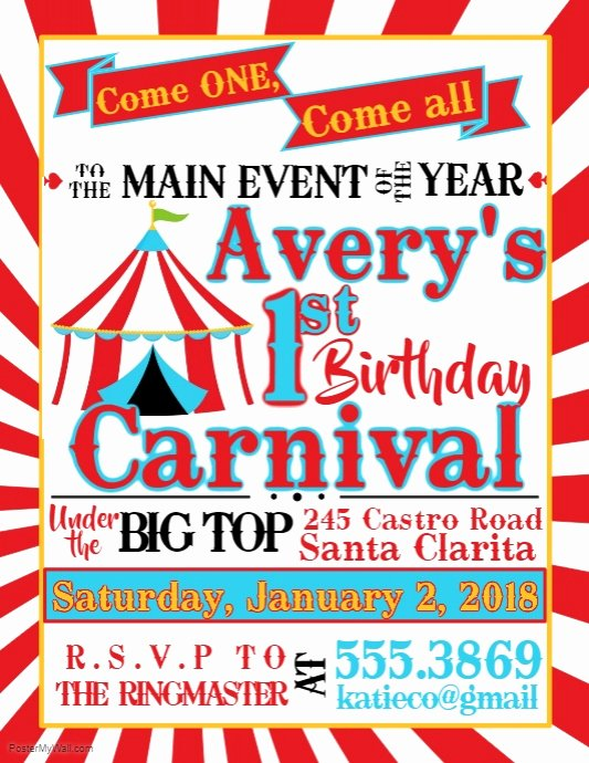 Carnival Flyer Template Free Unique Carnival Birthday Template