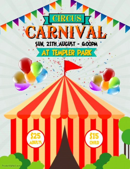 Carnival Flyer Template Free Unique Circus Carnival Flyer Template