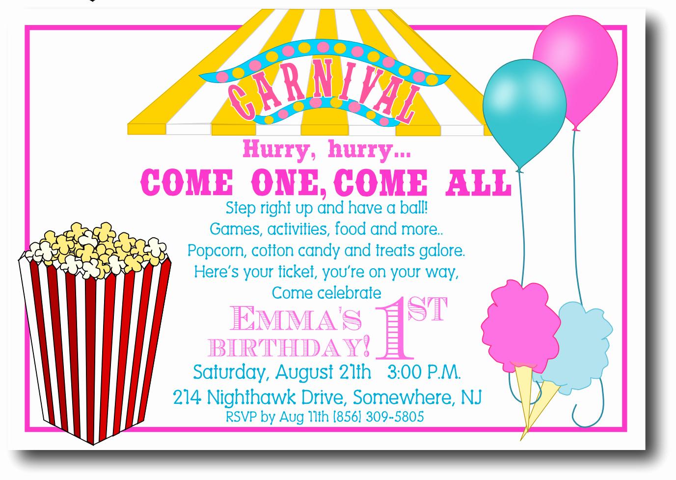 Carnival Invitation Template Free Elegant 5 Best Of Free Printable Carnival Templates