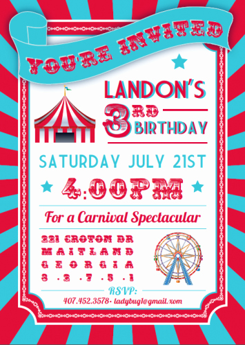 Carnival Invitation Template Free Elegant Free Printable Circus themed Birthday Party Invitations